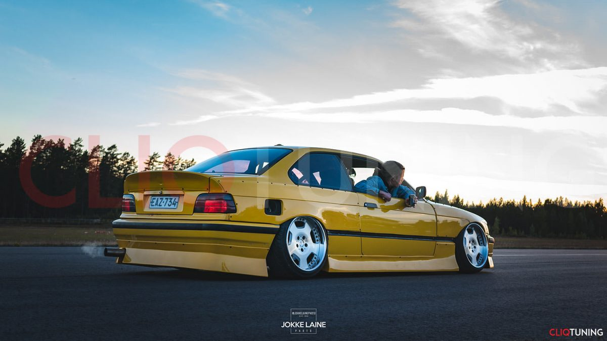 bmw e36 coupe aero kit jap bn style bumper lips and side skirts for drifting and stance cliqtuning2
