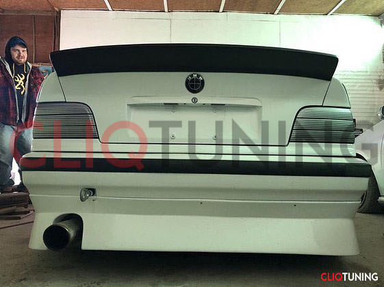 bmw e36 drag wing aero rear trunk spoiler drift stance coupe sedan convertible cliqtuning